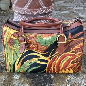 Ferragamo Printed Leather Satchel
